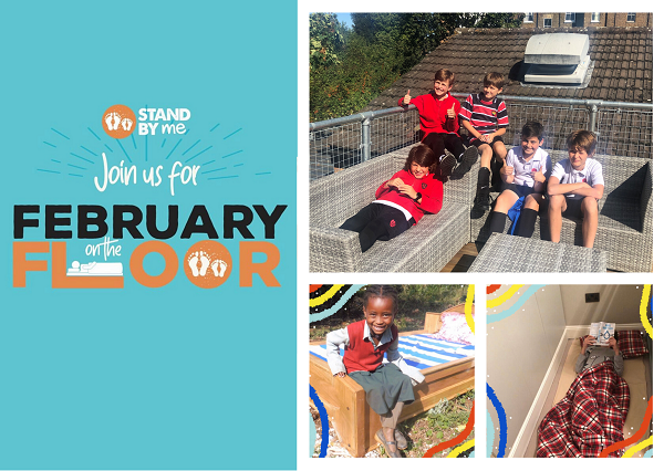Children from the Chepstow House School sleeping on the floor to help lift other children off the floor for the first time. This is the first charity partner to hit a major fundraising milestone through Kindergifts.